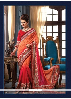 Prime Embroidered Work Red Pure Chiffon Classic Designer Saree
