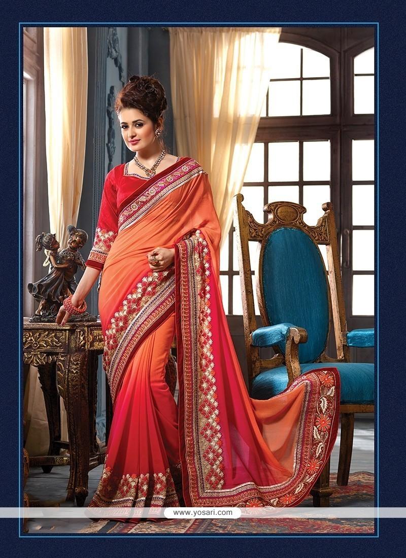 Prime Embroidered Work Red Pure Chiffon Classic Designer Saree