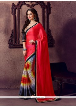 Glossy Georgette Multi Colour Printed Saree