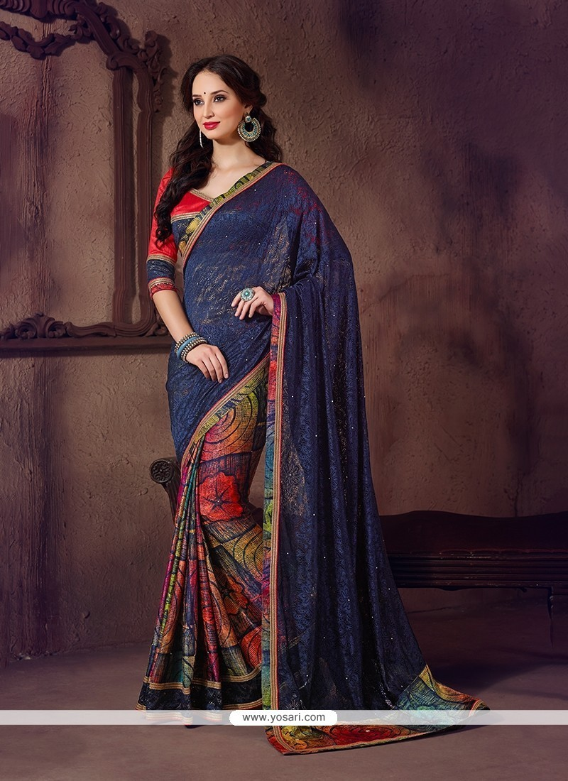 Bedazzling Net Printed Saree