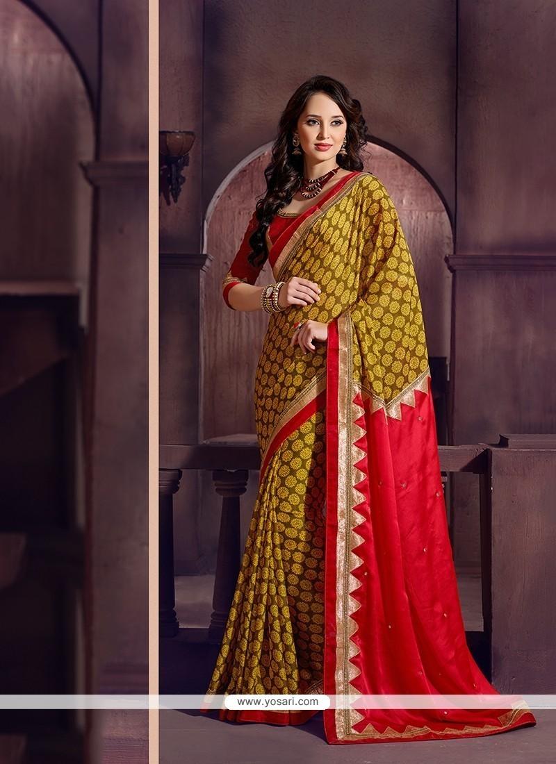 Opulent Georgette Multi Colour Printed Saree