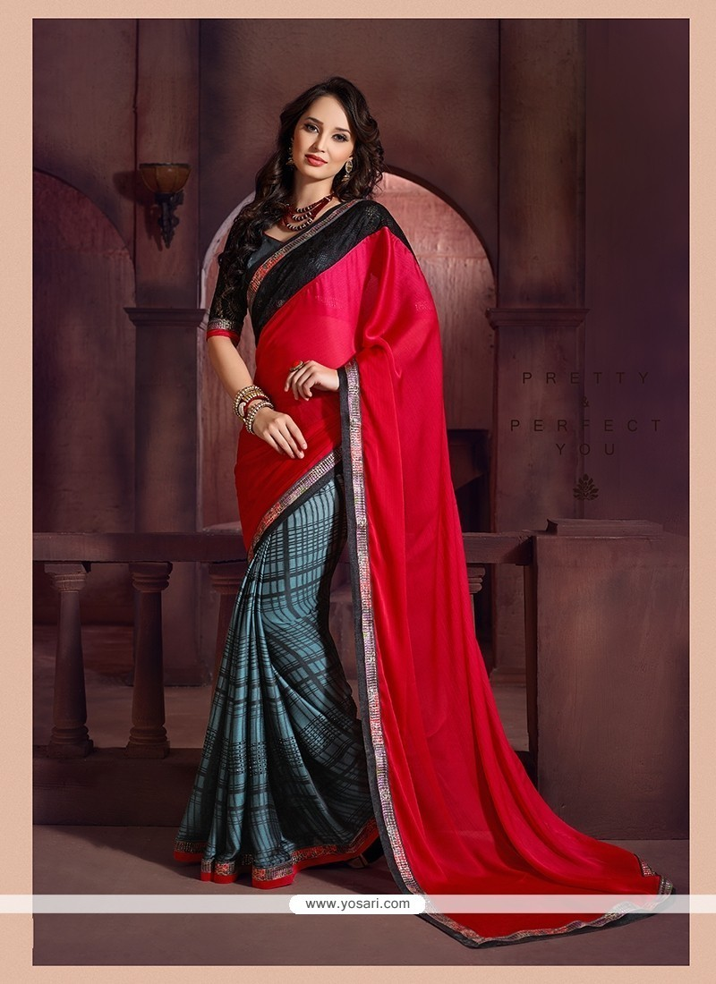 Gratifying Patch Border Work Chiffon Satin Printed Saree