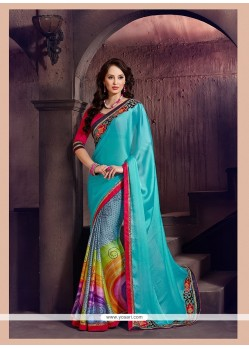 Monumental Chiffon Satin Multi Colour Printed Saree