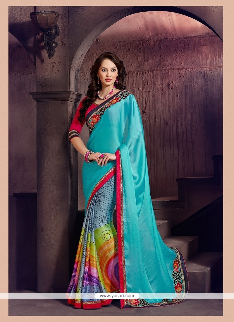 Monumental Chiffon Satin Multi Colour Printed Saree