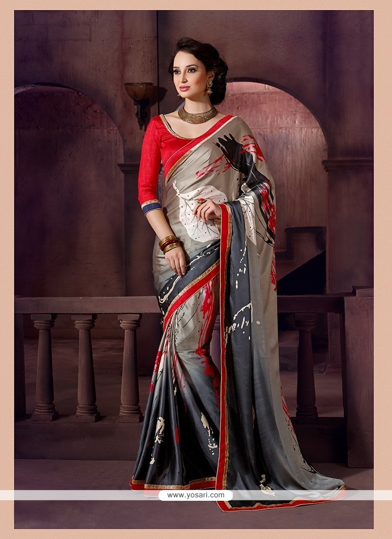 Ravishing Faux Crepe Patch Border Work Printed Saree