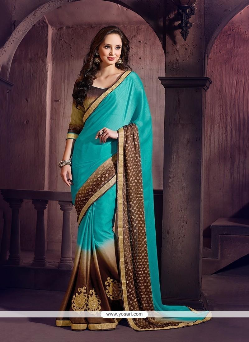 Lively Chiffon Satin Turquoise Classic Saree