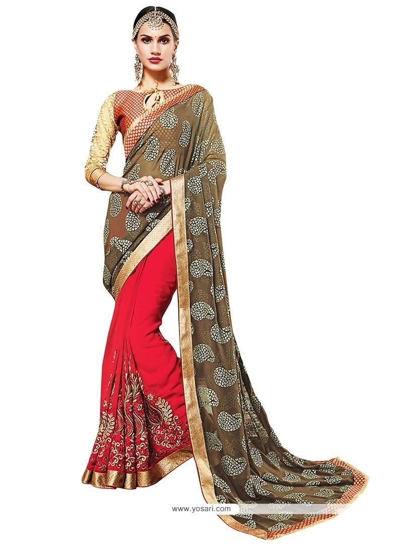 Irresistible Red Embroidered Work Designer Saree