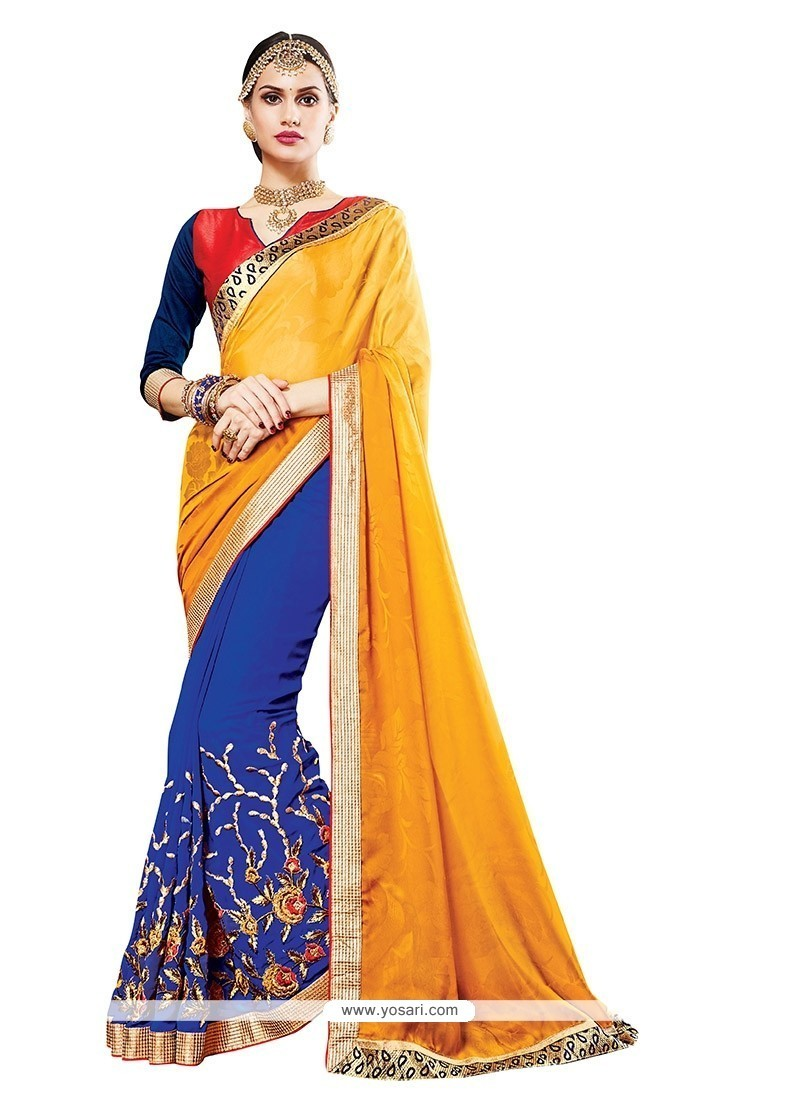Fashionable Blue And Yellow Embroidered Work Georgette Designer Saree