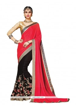 Paramount Embroidered Work Black Satin Designer Saree