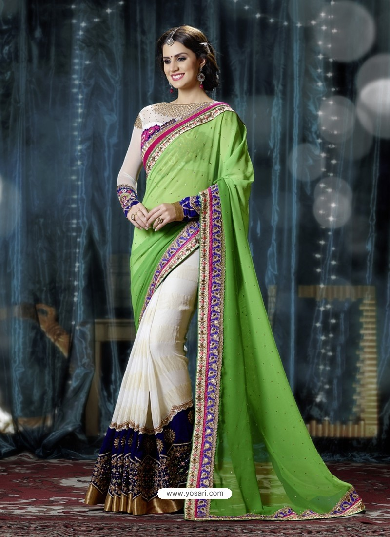 Green And Cream Pure Georgette Designer Saree
