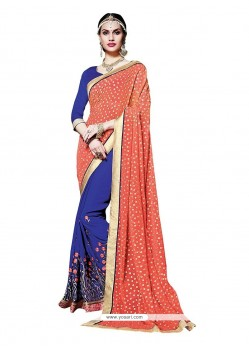 Enticing Navy Blue Patch Border Work Designer Saree