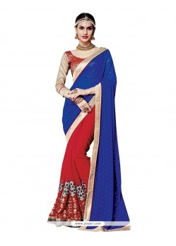 Appealing Red Embroidered Work Jacquard Classic Designer Saree