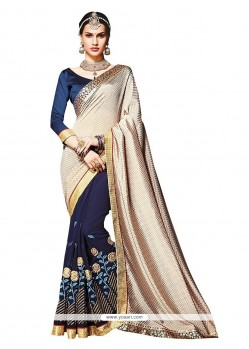 Tempting Navy Blue Embroidered Work Faux Crepe Traditional Saree