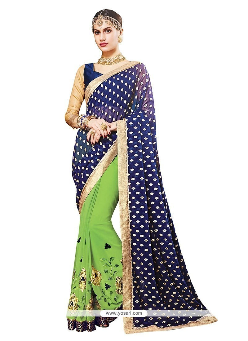 Modern Georgette Embroidered Work Classic Saree