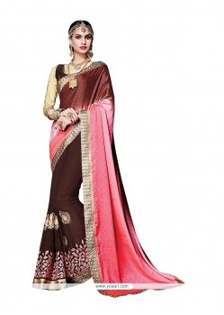 Beckoning Embroidered Work Brown Classic Saree