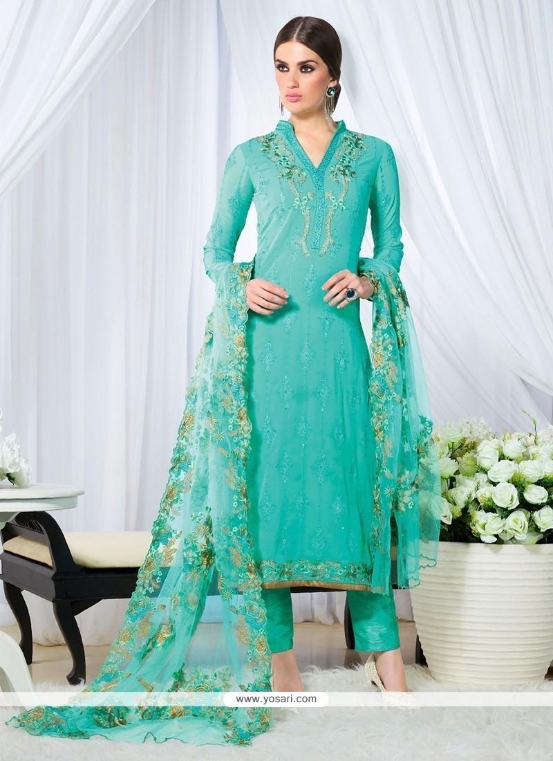 Breathtaking Embroidered Work Georgette Designer Straight Salwar Kameez