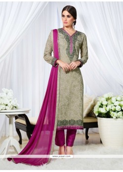 Cute Resham Work Grey Georgette Designer Straight Salwar Suit