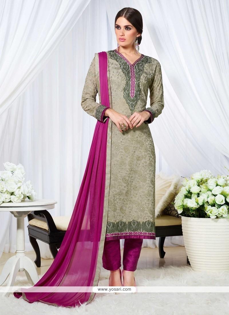 Cute Resham Work Grey Georgette Designer Straight Salwar Suit
