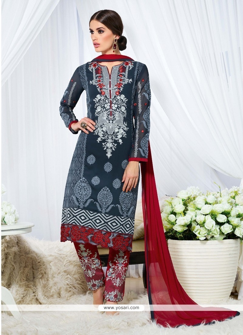 Marvelous Navy Blue Designer Straight Salwar Kameez