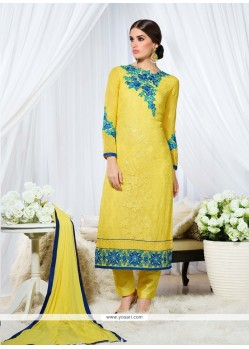 Affectionate Embroidered Work Yellow Georgette Designer Straight Salwar Kameez