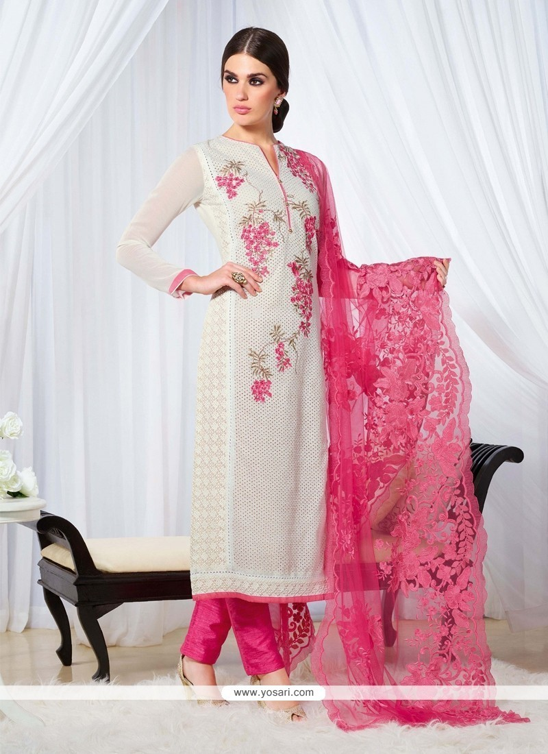 Dignified Embroidered Work Off White Designer Straight Salwar Kameez