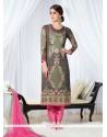 Ruritanian Grey Georgette Designer Straight Salwar Kameez