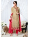 Appealing Georgette Beige Designer Straight Salwar Kameez