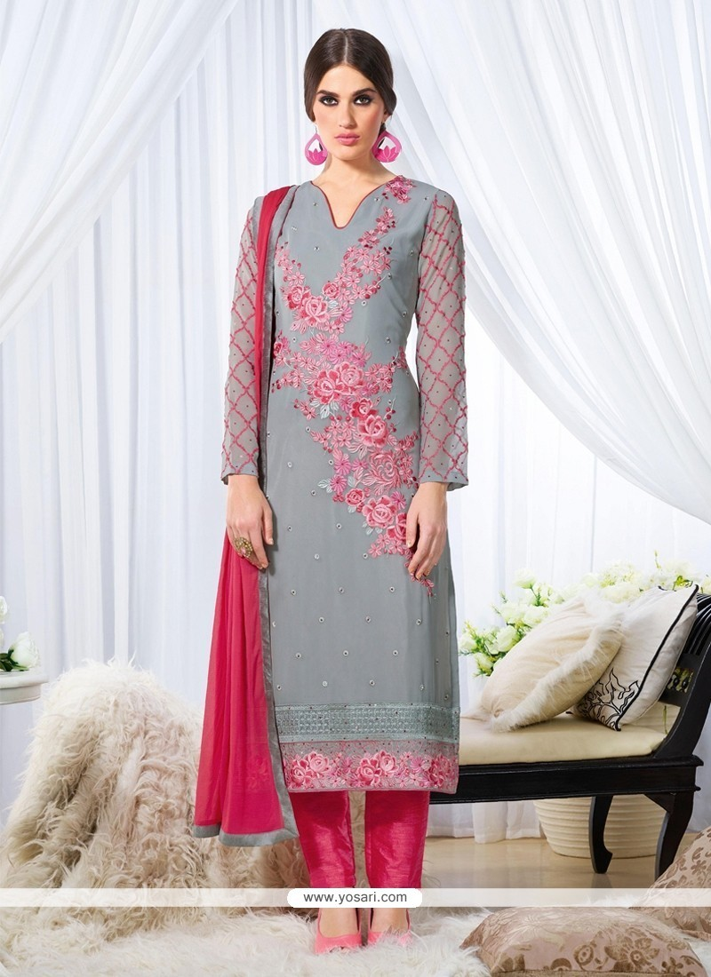 Awesome Embroidered Work Grey Designer Straight Salwar Kameez