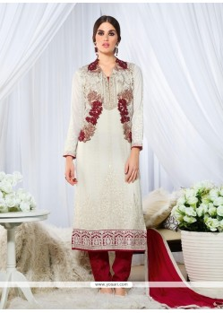 Resham Georgette Designer Straight Salwar Kameez In Off White