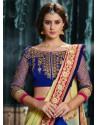 Blue And Cream Pure Georgette Designer Saree