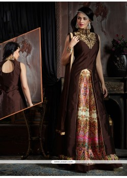 Innovative Brown Silk Designer Lehenga Choli