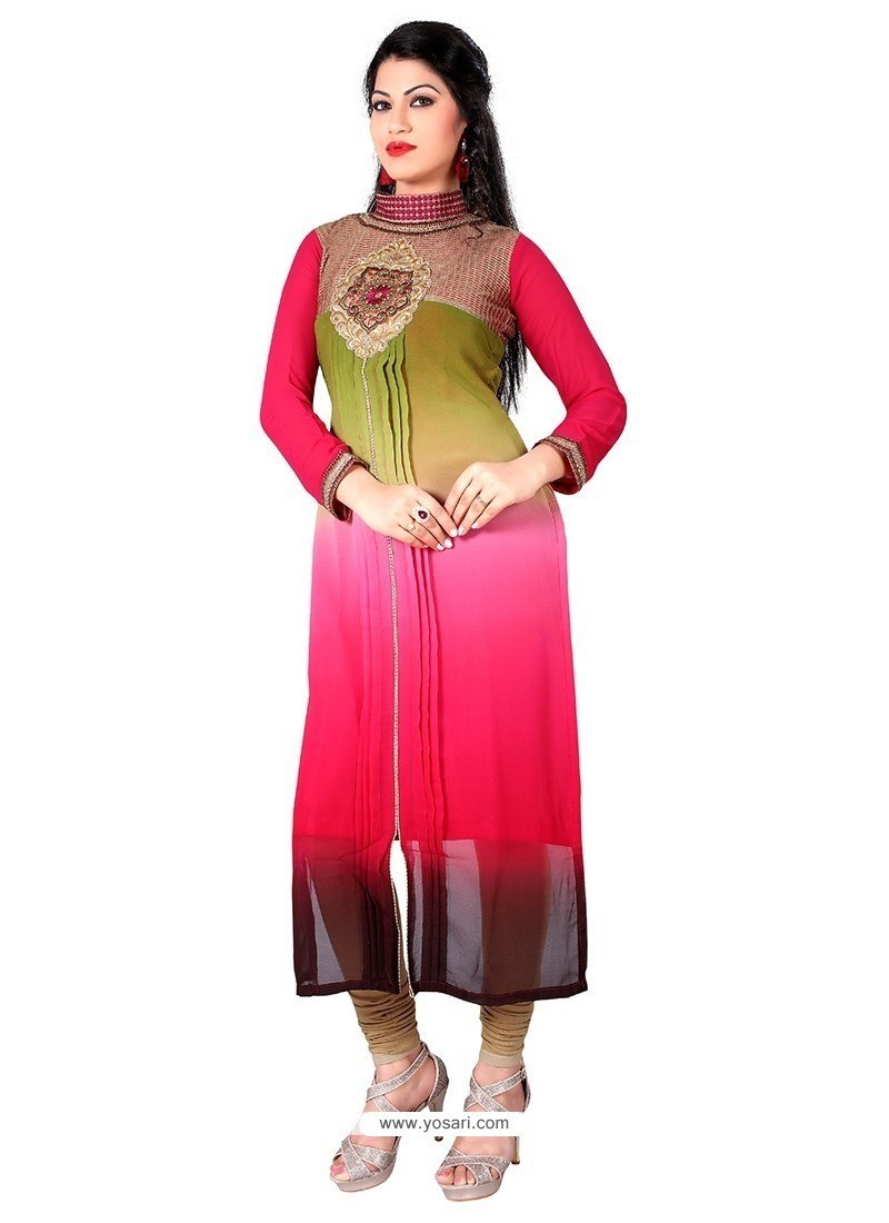 Modest Georgette Embroidered Work Designer Kurti
