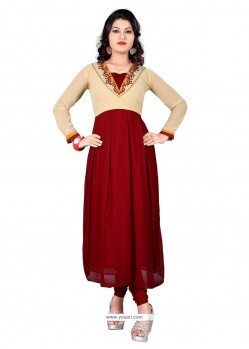 Sophisticated Embroidered Work Maroon Designer Kurti
