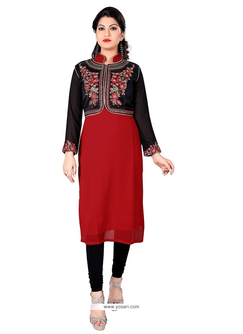 Blissful Embroidered Work Georgette Designer Kurti