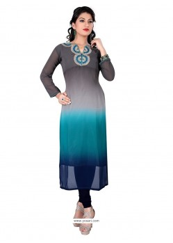 Sensible Georgette Grey And Blue Designer Kurti