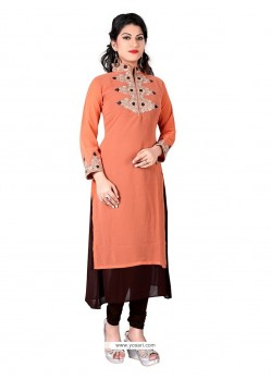 Affectionate Peach Designer Kurti
