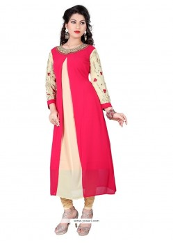 Sorcerous Hot Pink Embroidered Work Georgette Designer Kurti