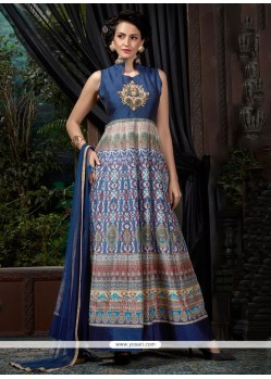 Glamorous Digital Print Work Banglori Silk Blue Designer Gown