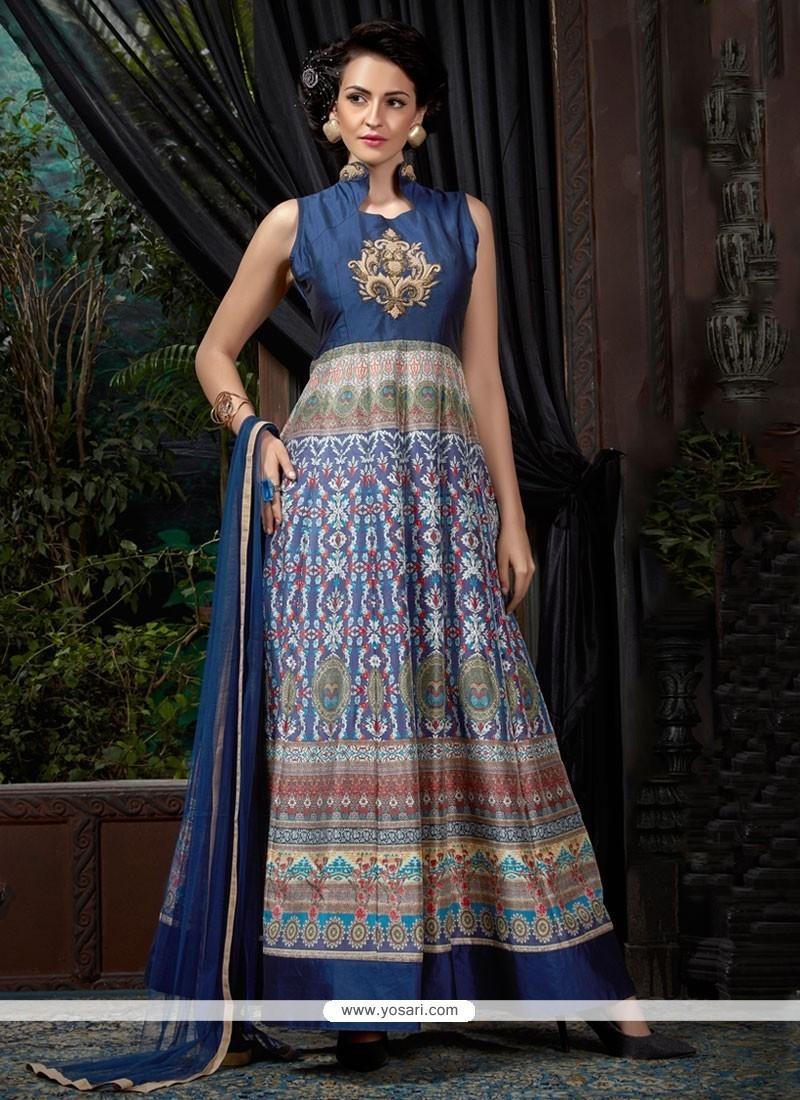 Glamorous Digital Print Work Banglori Silk Blue Designer Gown