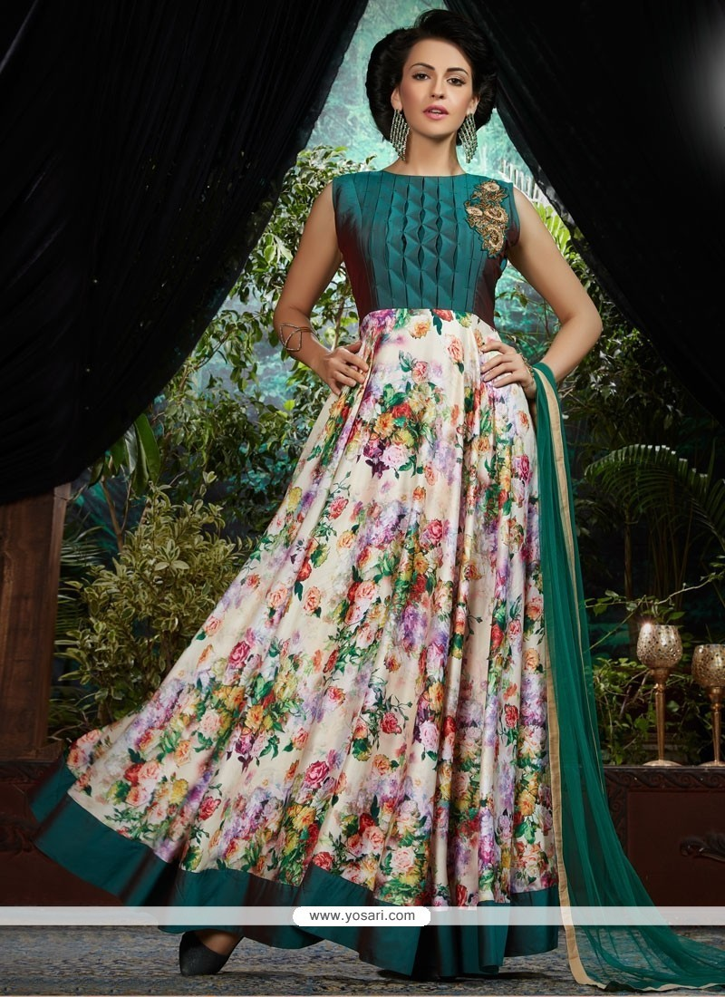 Dazzling Teal And White Embroidered Work Designer Gown