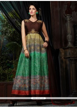 Flamboyant Banglori Silk Embroidered Work Multi Colour Designer Gown