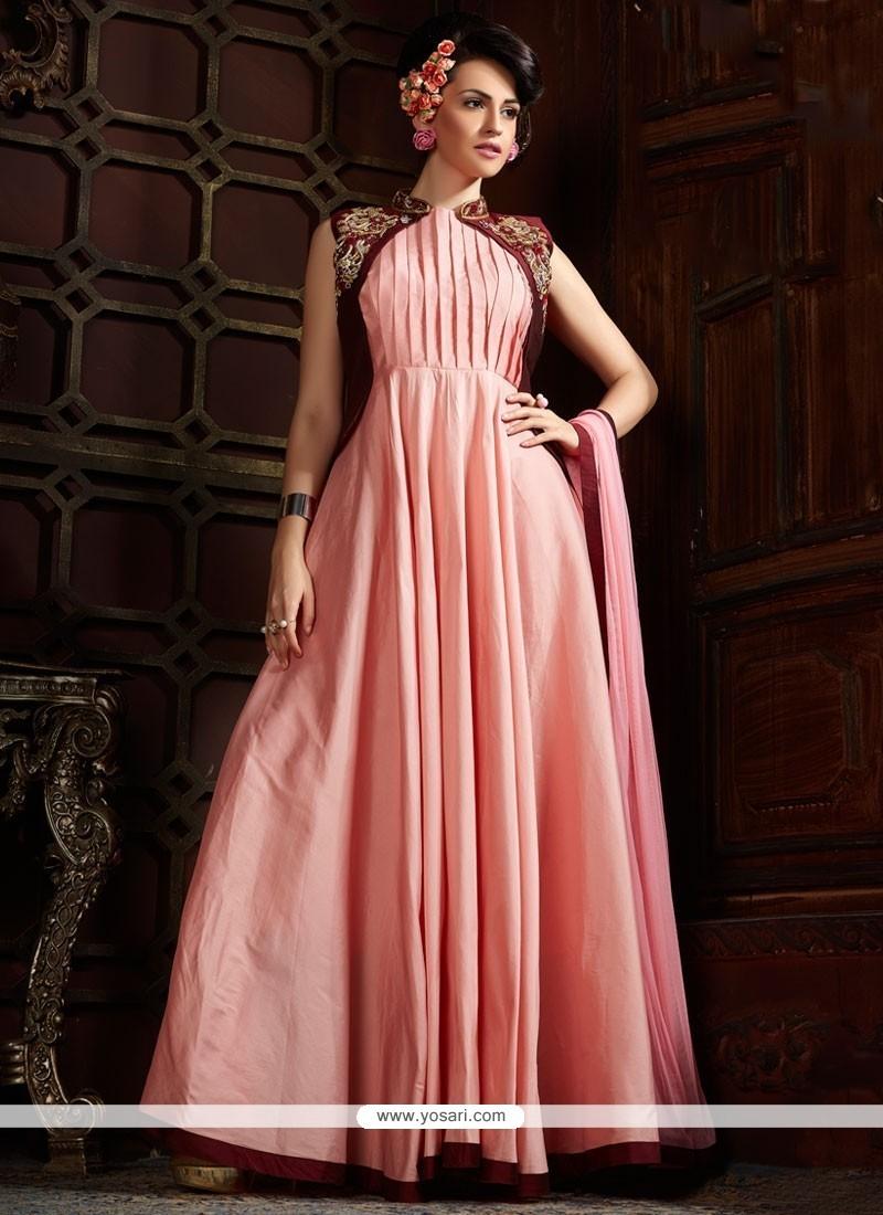 271ded6ce3 Buy Modish Silk Pink Designer Gown Online : UAE