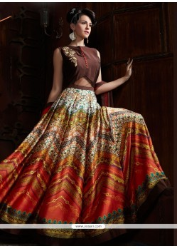 Exceeding Digital Print Work Satin Designer Gown
