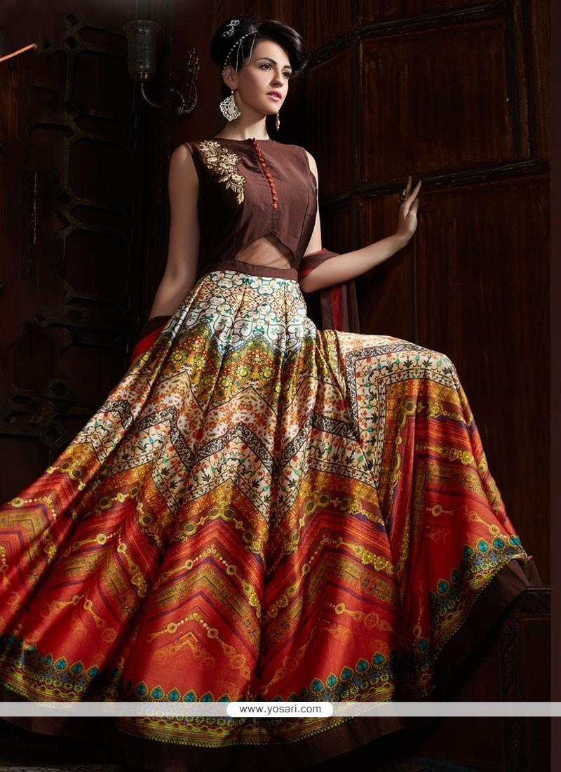 Exceeding Digital Print Work Satin Designer Gown