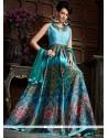 Conspicuous Blue Designer Gown