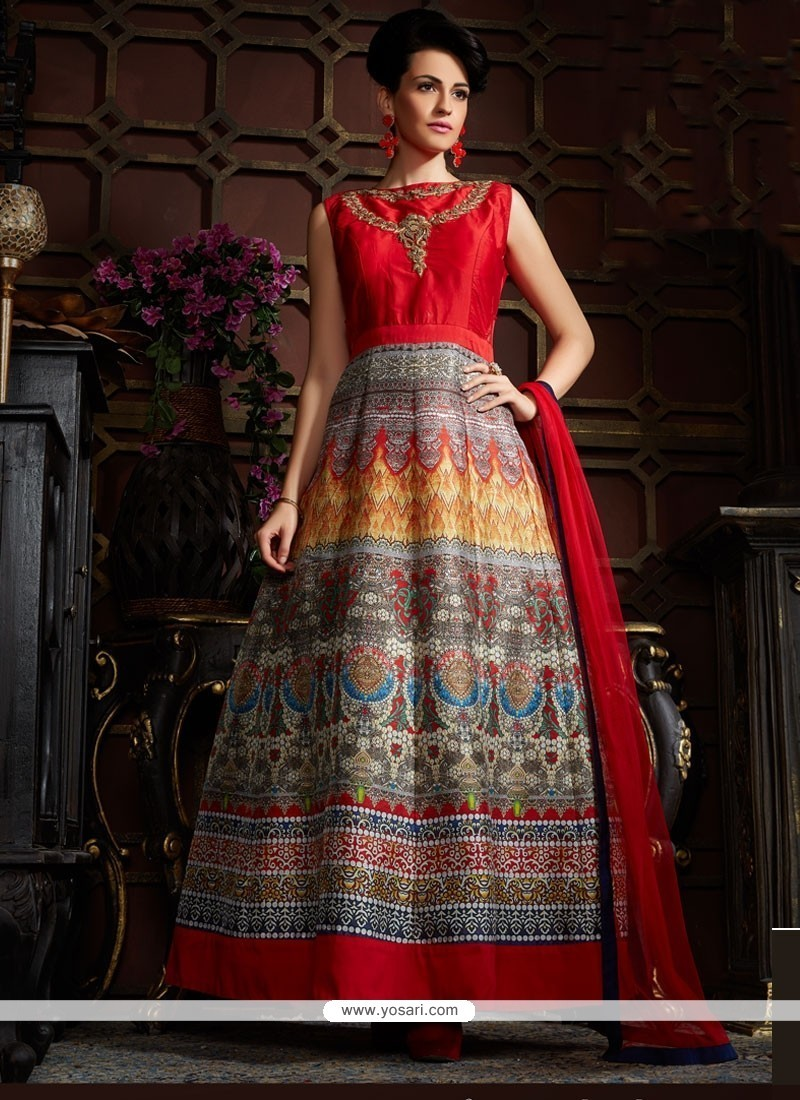Graceful Orange Banglori Silk Embroidered Work Designer Gown