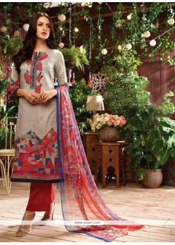 Peppy Multi Colour Print Work Designer Straight Salwar Kameez
