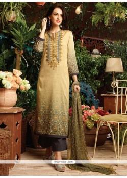 Lively Print Work Cotton Satin Multi Colour Designer Straight Salwar Kameez