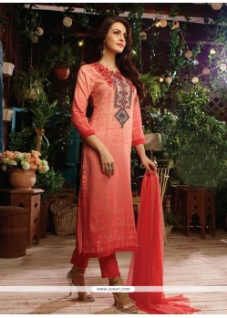 Orphic Print Work Cotton Satin Designer Straight Salwar Kameez