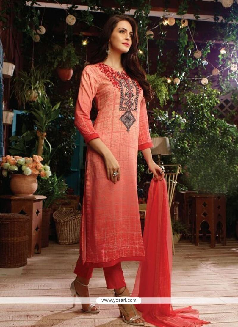 Orphic Print Work Cotton Satin Designer Straight Salwar Kameez